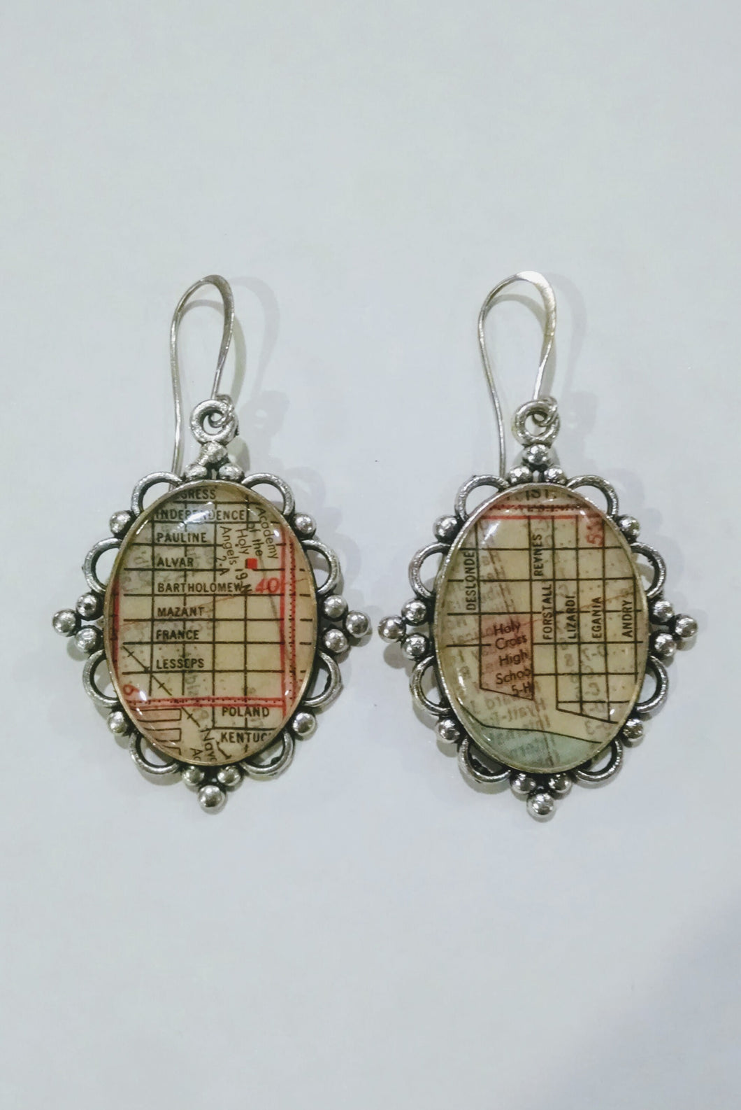 Vintage Map Earrings