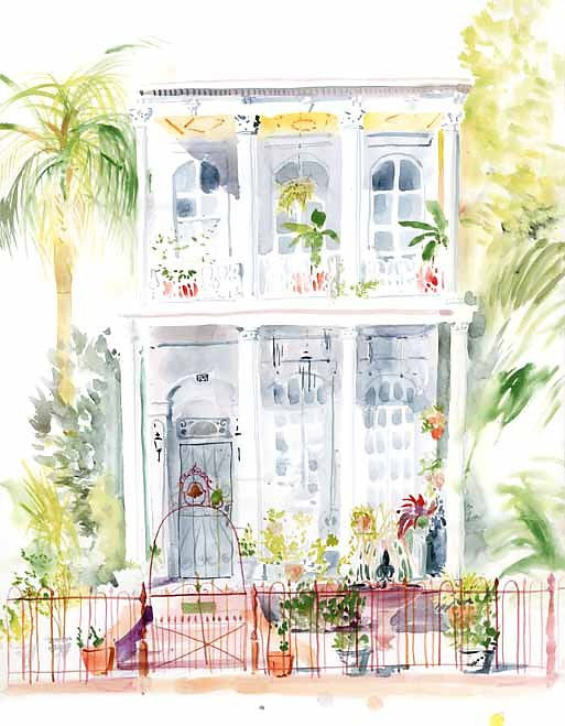 Espalanade House Watercolor Mini Print