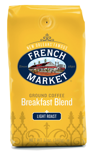 French Market Coffee Breakfast Blend Light Roast Bag