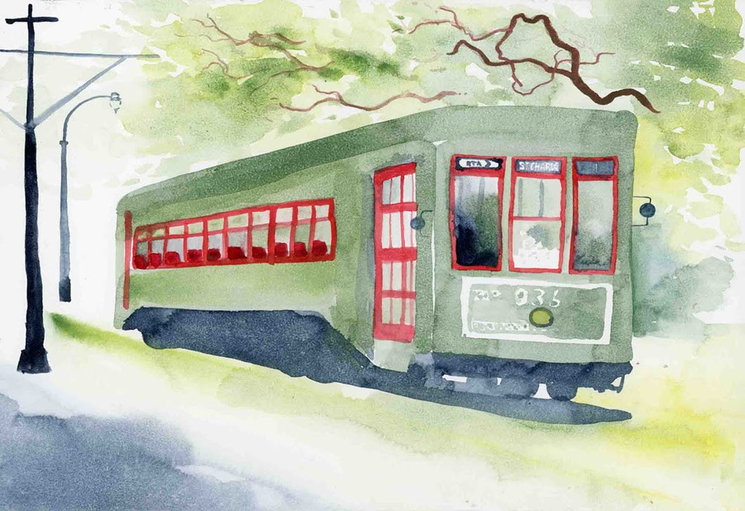 St. Charles Streetcar Watercolor Mini Print