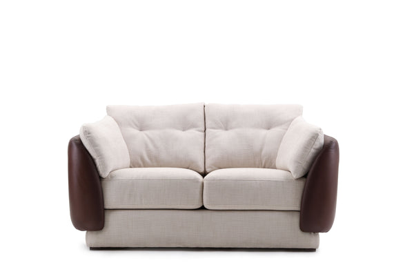 Giovanni's Shell 2-Seater Sofa in Fabric & Leather