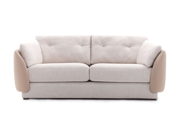 Giovanni's Shell 3-Seater Sofa in Fabric & Leather