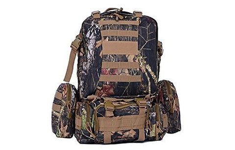Tactical Outdoor Backpack Daypack Rucksack + 3 Detachable Pouches