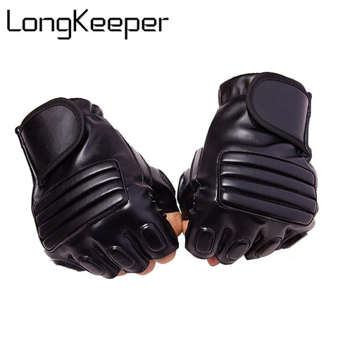 Leather Half Finger Tactical Gloves