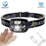 Rechargeable LED Headlamp 3000LM With Motion Sensor