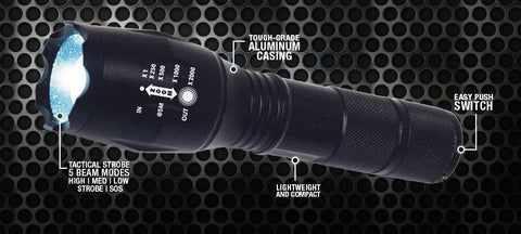 LED Flashlight 2000 Lumen Tactical Waterproof Zoomable & Powerful
