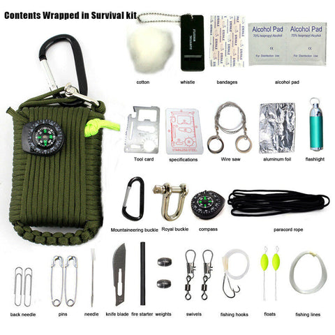 29 in 1 Outdoor Paracord Grenade Camping Fishing Survival Kit Tools EDC Gear Set