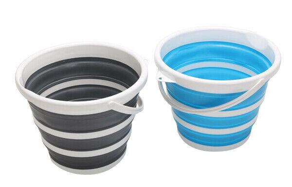 Quest Collapsible-wares 11L Bucket -Grey/White or Blue/White -Camping/caravan-Campers and Leisure-Campers and Leisure