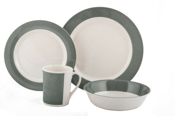 Quest Fresco 8 Piece Melamine Picnic ware Camping Dinner Set - Blue or Grey-Quest-Campers and Leisure (4252572516484)