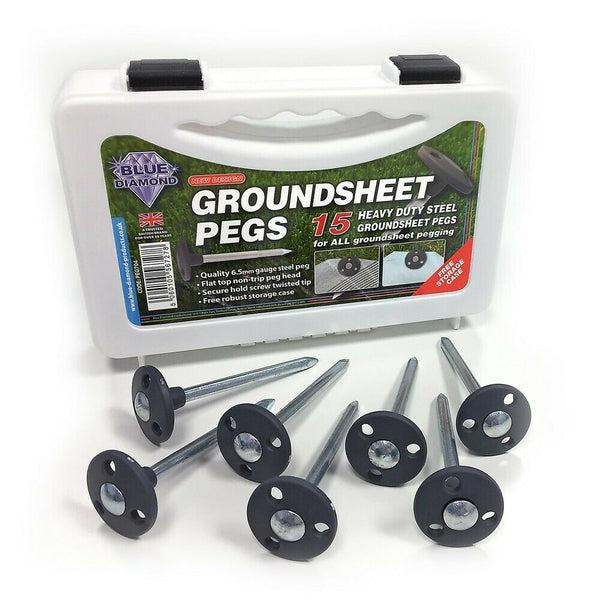 Blue Diamond Metal Steel Groundsheet Pegs x 15 complete with carry case-Outdoor Revolution-Campers and Leisure