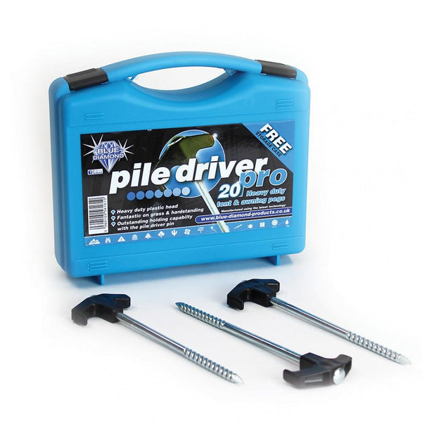 Blue Diamond Pile Driver Pegs - Case of 20-Outdoor Revolution-Campers and Leisure