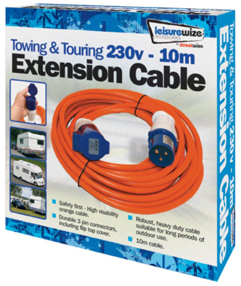 10 Metre Camping Mains Extension Cable-Leisurewize-Campers and Leisure