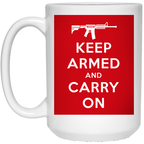 Keep Armed and Carry On AR-15 15 oz. Mug