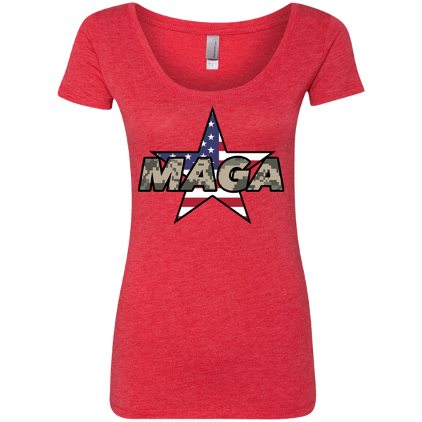MAGA Camo-Desert (Fitted) Ladies' Scoop T-shirt