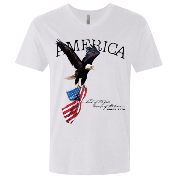 Land of the FREE because of the BRAVE Men's V-neck T-shirt