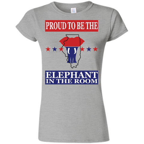 Illinois PROUD Elephant in the Room (Fitted) Ladies' T-shirt