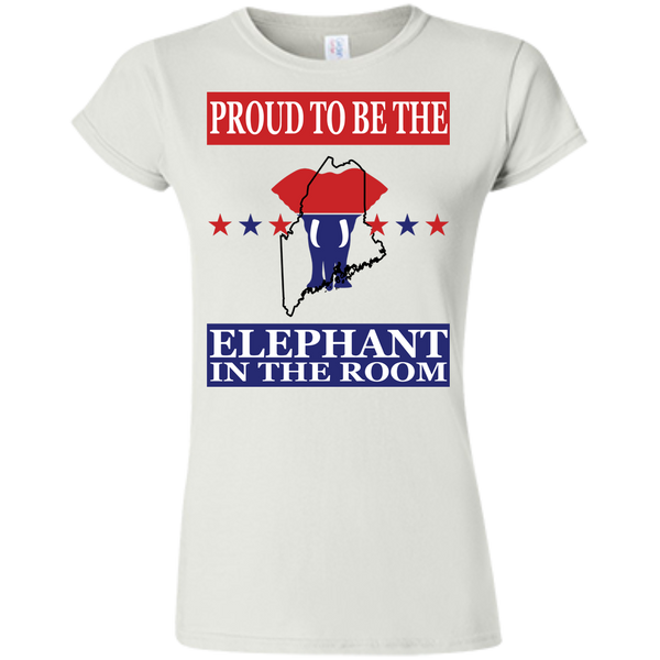 Maine PROUD Elephant in the Room (Fitted) Ladies' T-shirt