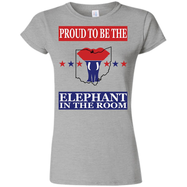 Ohio PROUD Elephant in the Room (Fitted) Ladies' T-shirt