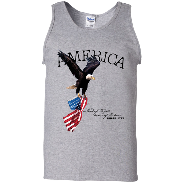 Land of the FREE because of the BRAVE Men's Tank