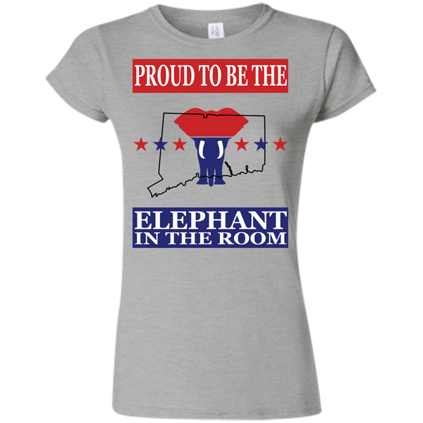 Connecticut PROUD Elephant in the Room (Fitted) Ladies' T-shirt
