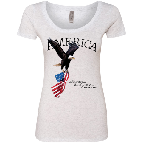 Land of the FREE because of the BRAVE (Fitted) Ladies' Scoop T-shirt