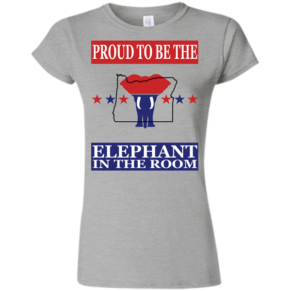 Oregon PROUD Elephant in the Room (Fitted) Ladies' T-shirt
