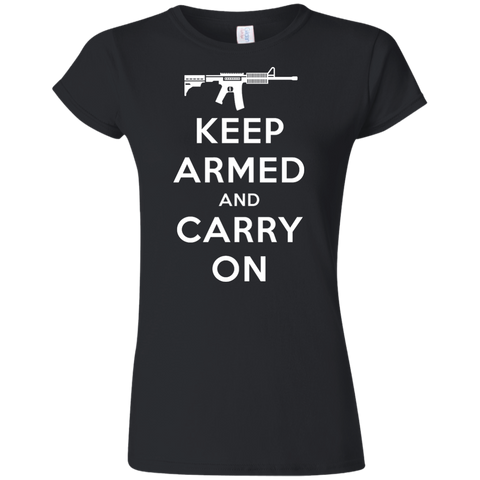 Keep Armed and Carry On AR-15 (Fitted) Ladies' T-Shirt