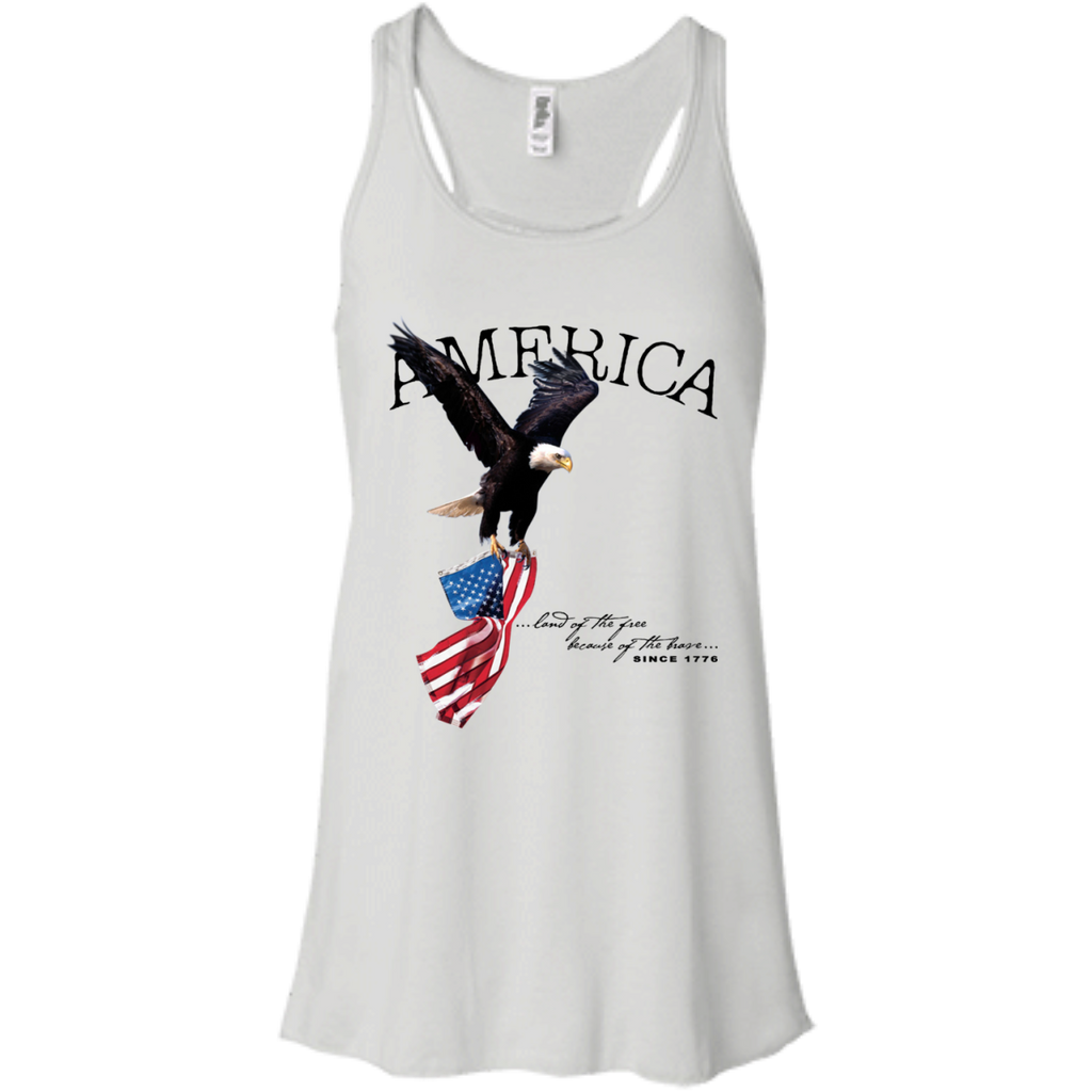 Land of the FREE because of the BRAVE (Racerback) Ladies' Tank