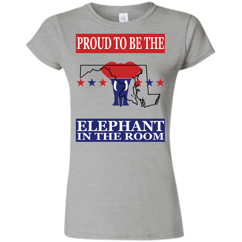 Maryland PROUD Elephant in the Room (Fitted) Ladies' T-shirt