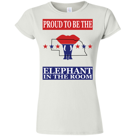 Nebraska PROUD Elephant in the Room (Fitted) Ladies' T-shirt