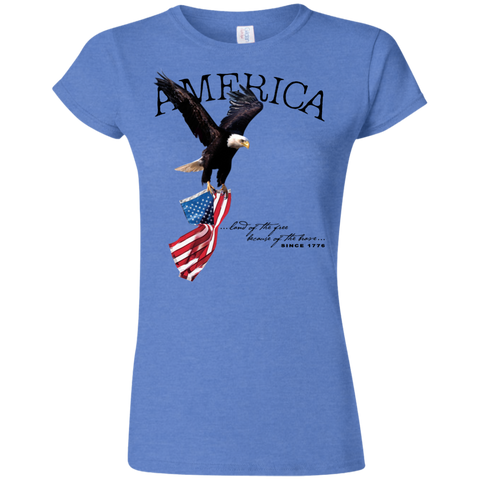 Land of the FREE because of the BRAVE (Fitted) Ladies' T-shirt