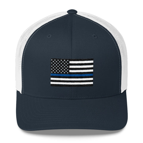 Thin Blue Line American Flag Trucker Hat