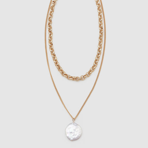 JOLIE & DEEN Round Pearl & Chain Necklace