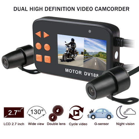 Motorcycle Dash Cam 1080P Dual Lens Video Recorder DV188