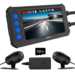 AKEEYO AKY-958 Motorcycle Dual Dash Camera, IP67 Waterproof FHD 1080P Front and Rear Driving Recorder, 120°Wide Angle 3 Inch IPS Screen with WDR, Supercapacitor, G-Sensor, Loop Recording