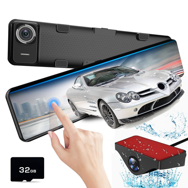 AKEEYO X2 Stream Media Car Mirror Dash Camera 11.88 Inch IPS Touch Screen, FHD 1080P Front and Rear Backup Camera with Parking Monitor, G-Sensor, Loop Recording, Night Vision, 32GB SD Card
