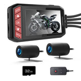 "LANCERTECH Motorcycle Dash Camera, Dual 1080P FHD Front and Rear, 2.7"" LCD Screen 130° Wide Angle WDR DVR Driving Recorder with G-Sensor, Loop Recording"