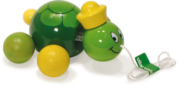 Caroline The Turtle Pull Toy by Vilac - Push and Pull - Vilac - kidstoyswarehouse