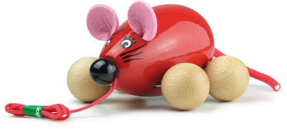 Lisa The Pull Along Mouse Red by Vilac