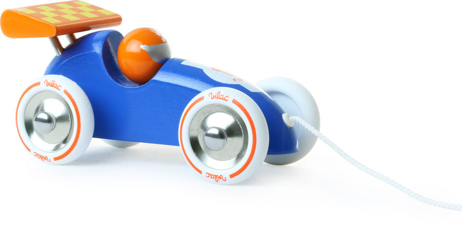 Blue & Orange Wooden Racing Racing Car Pull Along - Roleplay - Vilac - kidstoyswarehouse