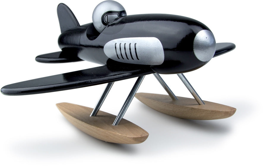 Black Wooden Toy Seaplane - Toy Vehicles - Vilac - kidstoyswarehouse