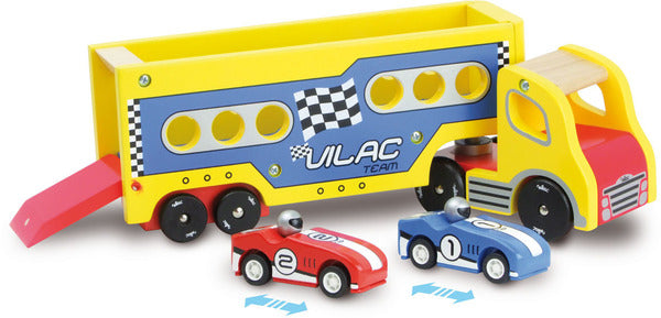 Articulated Lorry with 2 Friction Cars by Vilac - Playsets & Playscapes - Vilacity - kidstoyswarehouse