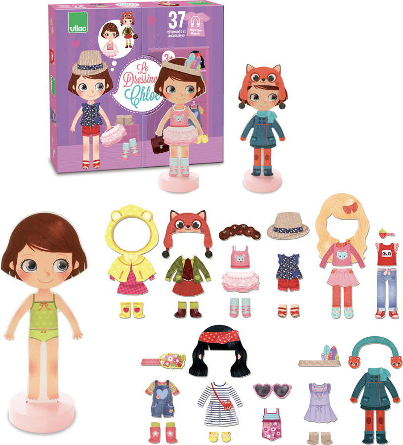 Chloe's dressing, little wooden magnetic doll to dress up - Roleplay - Vilac - kidstoyswarehouse
