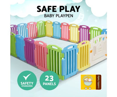 Cuddly Baby 23-Panel Plastic Baby Playpen Kids Toddler Fence