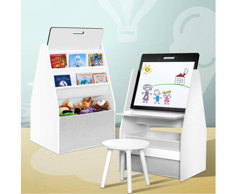Kids Easel Whiteboard and Bookshelfs Combined - White