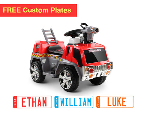 Image of Rigo Kids Ride On Fire Truck Motorbike Motorcycle Car Red Grey with Free Customized Plate