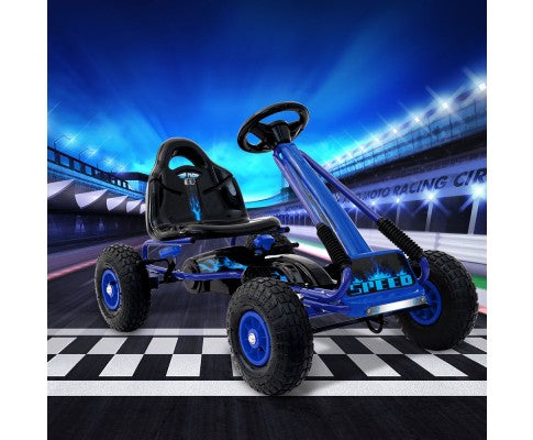 Rigo Kids Pedal Go Kart Blue SPEEDY with Free Customized Plate