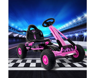 Rigo Kids Pedal Go Kart Pink SPEEDY with Free Customized Plate