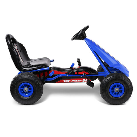 RIGO Kids Pedal Go Kart Car Ride On Toys Racing Bike Blue with Free Customized Plate