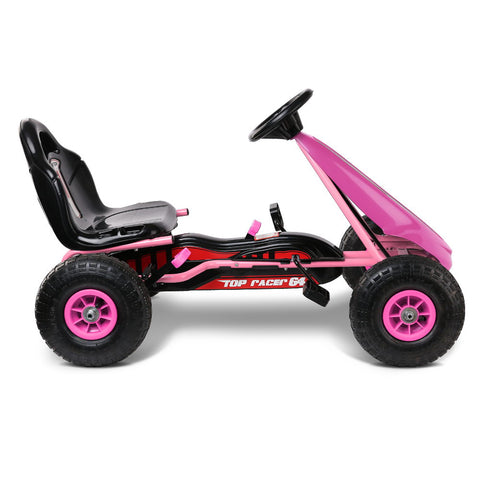 RIGO Kids Pedal Go Kart Car Ride On Toys Racing Bike Pink with Free Customized Plate